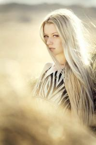 Long Bleached Blonde Hair.